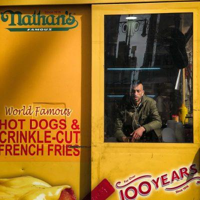 Nathan's hot dog vendor in Manhattan, New York City.