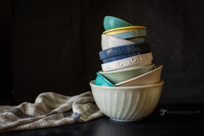 bowls stacked with linen