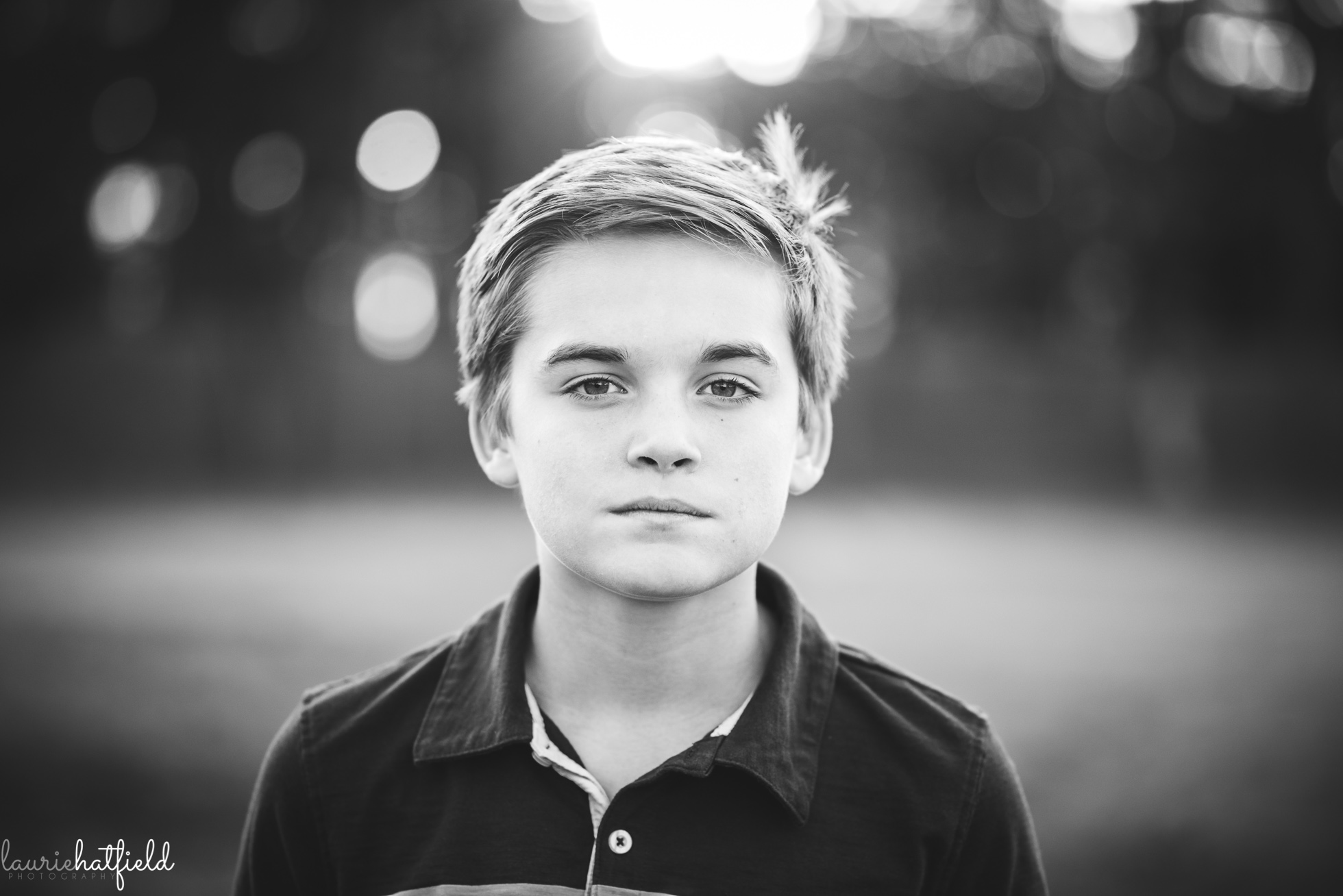 black and white portrait of twelve year old boy