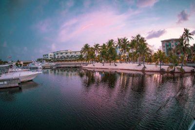 Sunset shot of Caymana Bay in the Cayman Islands from catamaran.