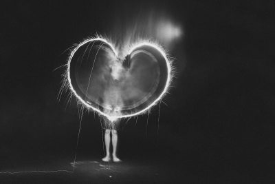 black and white heart made out of sparklers