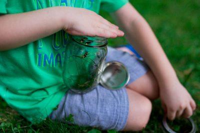 boy using hand to cover a mason jar full of fireflies