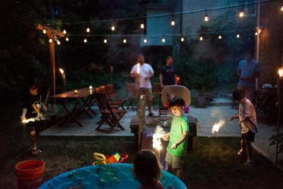 back yard sparklers and patio lights