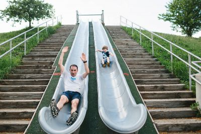 sliding down with dad