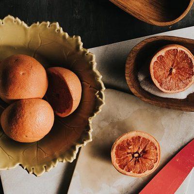 food photography, cut up grapefruit