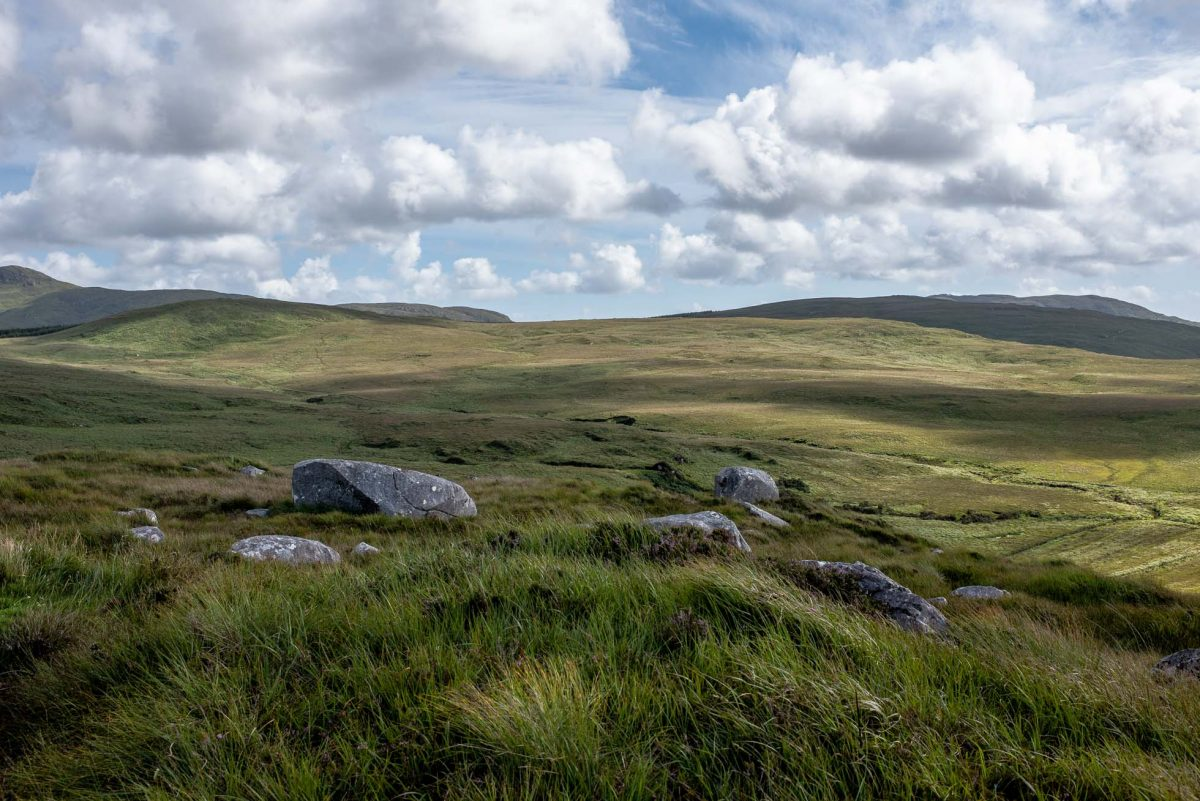 Landscape photograph showing the ever-present stones seen in the hilly Connemara region of County Galway, Ireland