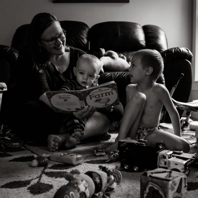 This Is Us - Self-Portrait - Mom and boys - black and white