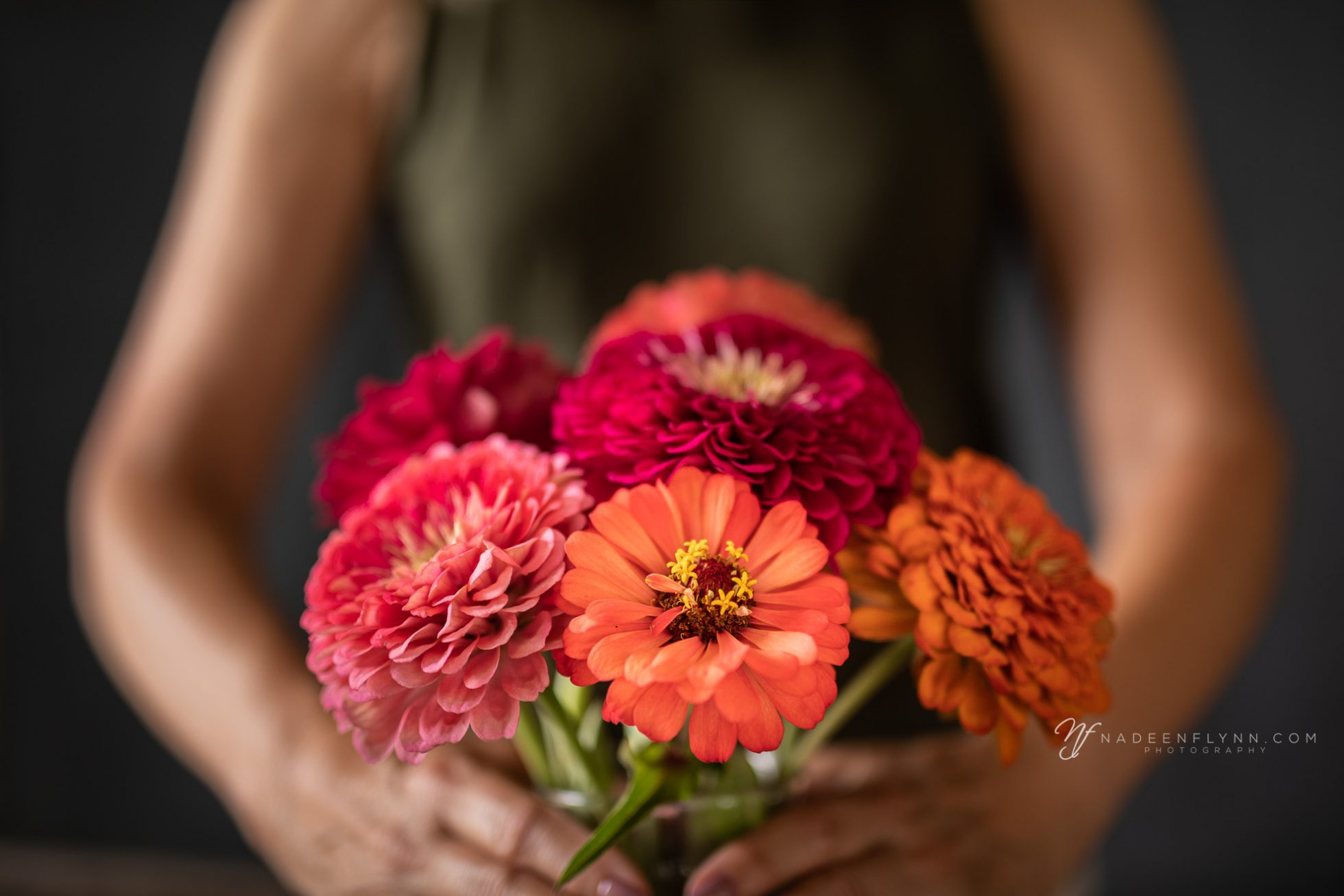 zinnia bouquet of bright orange and pink flowers
