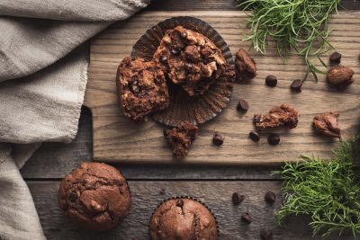 chocolate nirvana muffins with chocolate chips flat lay