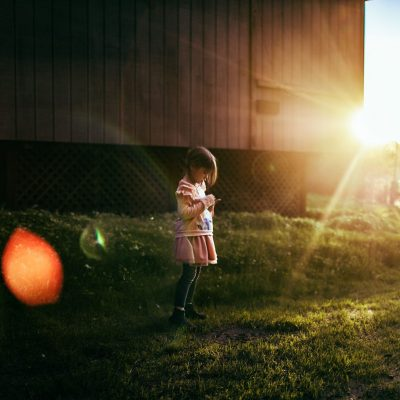 evening walk with beautiful light and sunset flare