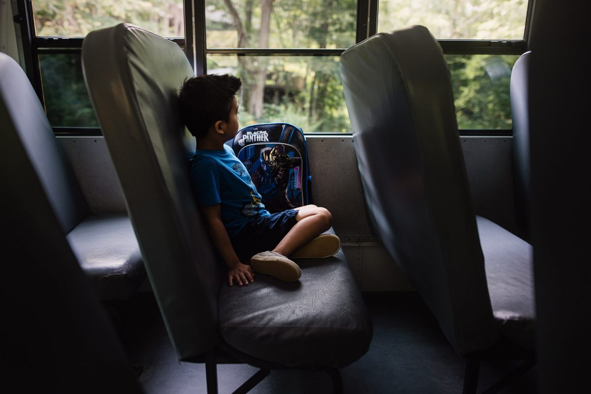 Kindergarter's First School Bus Ride Lifestyle Photography by Thao Lai