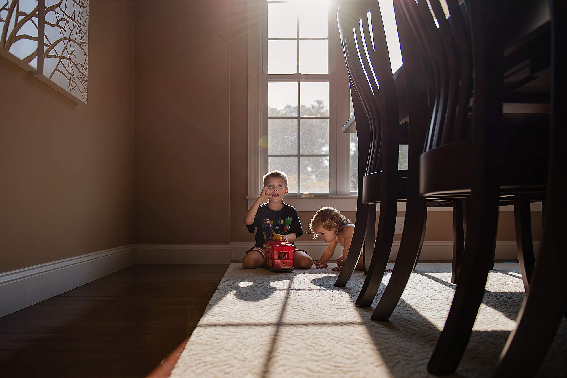 Kids play in light and shadows