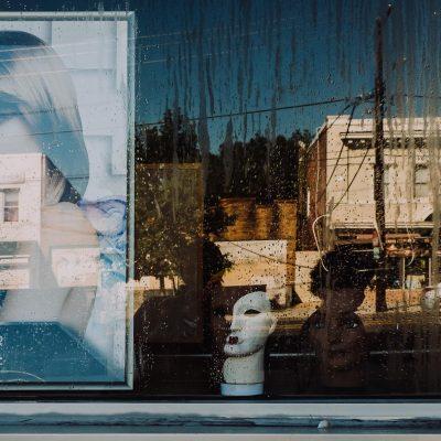 window reflection street scene