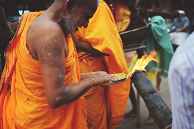 Receiving blessings at a temple in Southern India by Kirsty Larmour