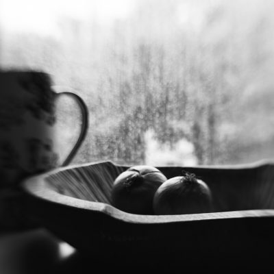 Photo of still life bowl with onions and pitcher