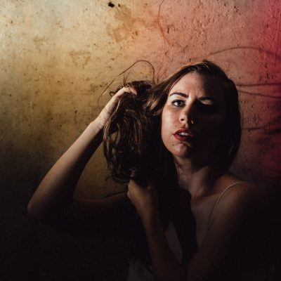 a self portrait with color and off camera light