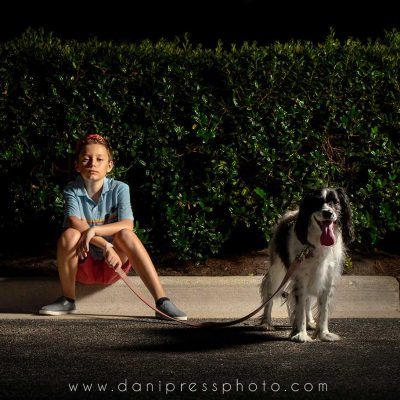 danipress photography danielle lundberg boy dog english springer spaniel family dark ocf off camera flash canon 5d mark iv night one light maryland tamron 70-200