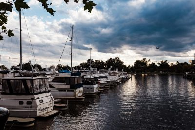 boats on river sunset