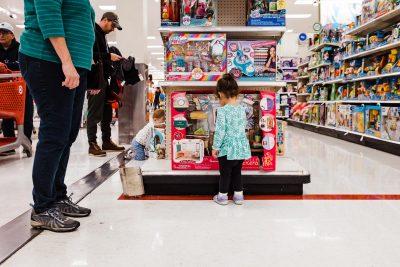 little girl at target shopping
