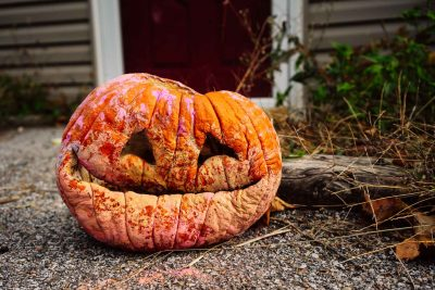 A documentary image of a mold old man pumpkin smiling on Halloween night