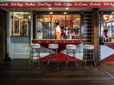 Nostalgic red and white snack bar on Pier 39