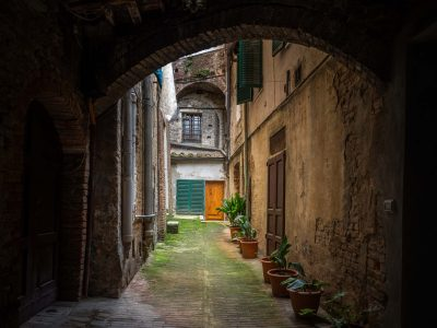 A beautiful alley in Siena Italy