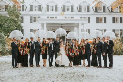 Snowfall during a Vermont Fall Wedding