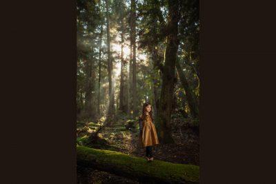 Girl on log in hazy woods