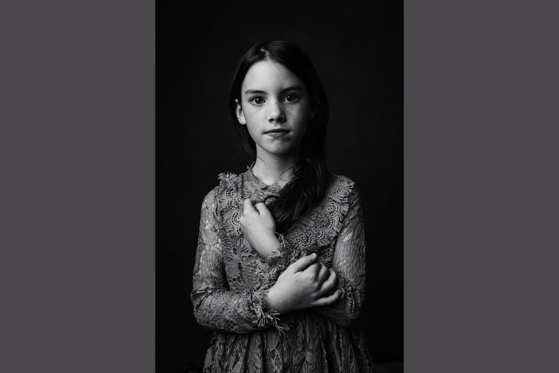 Black and white portrait of a girl