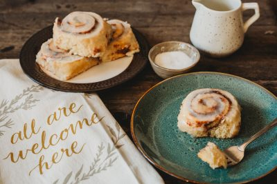 flat lay of cinnamon rolls on dining room table