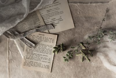 vintage book pages with oregano on linen