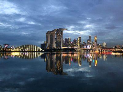 blue hour over singapore city