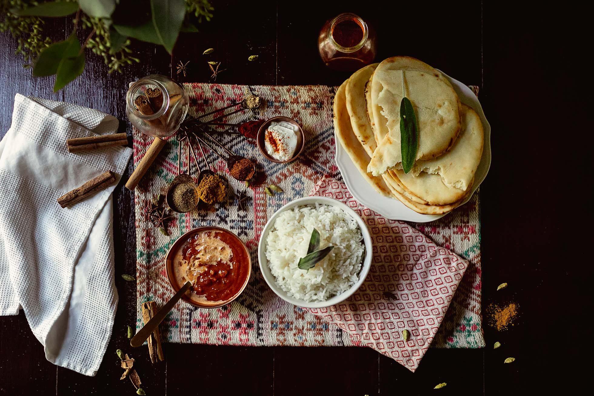 Flat-Lay Indian Food