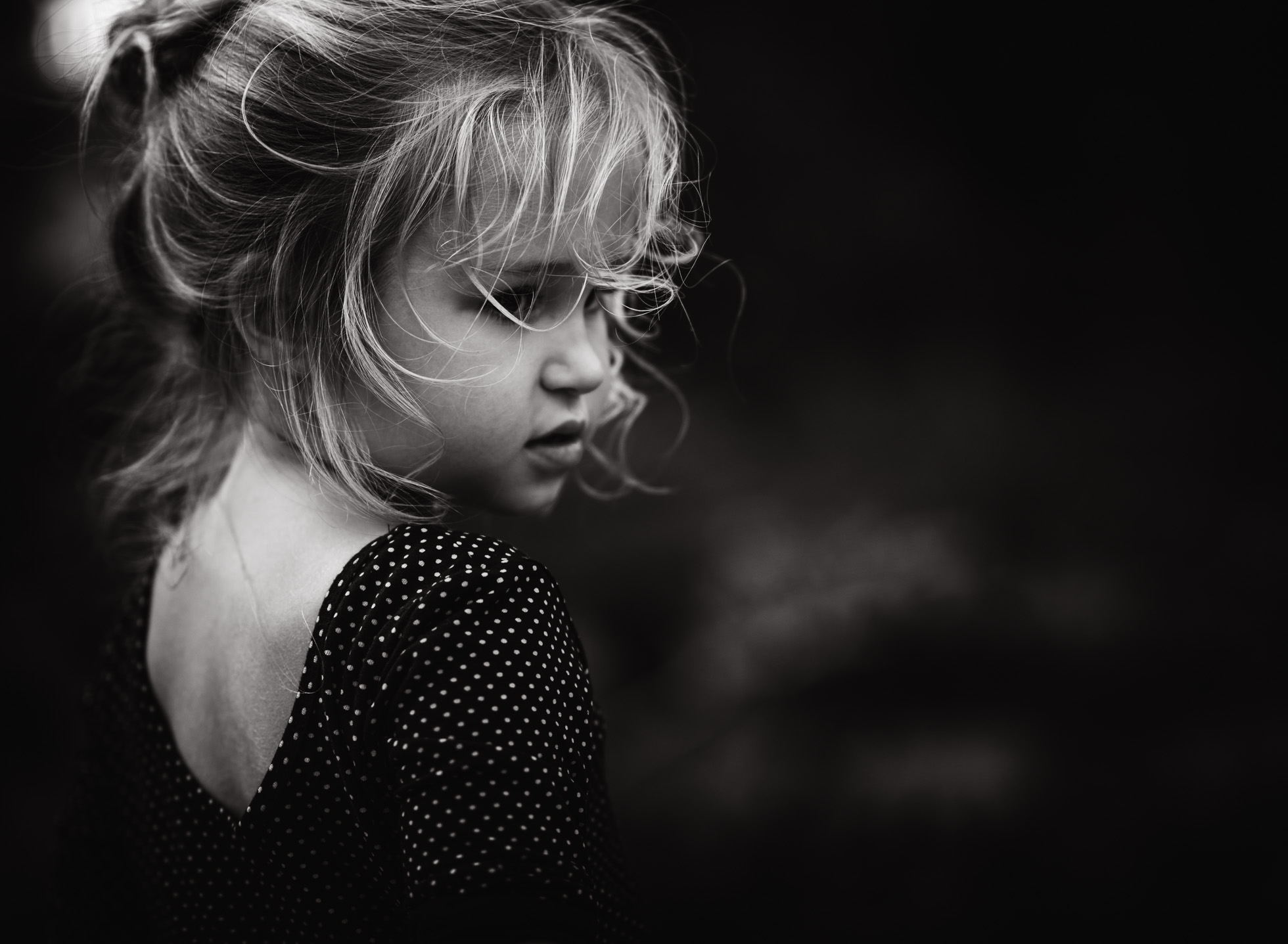 The girl with the messy hair child portrait black and white monochrome edmond ok photographer oklahoma