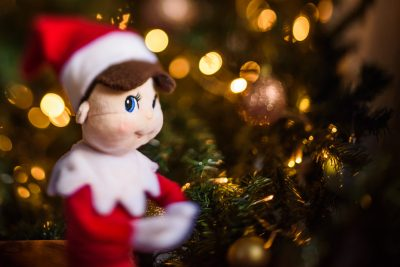 Elf on the shelf freelensed image with Christmas tree in background