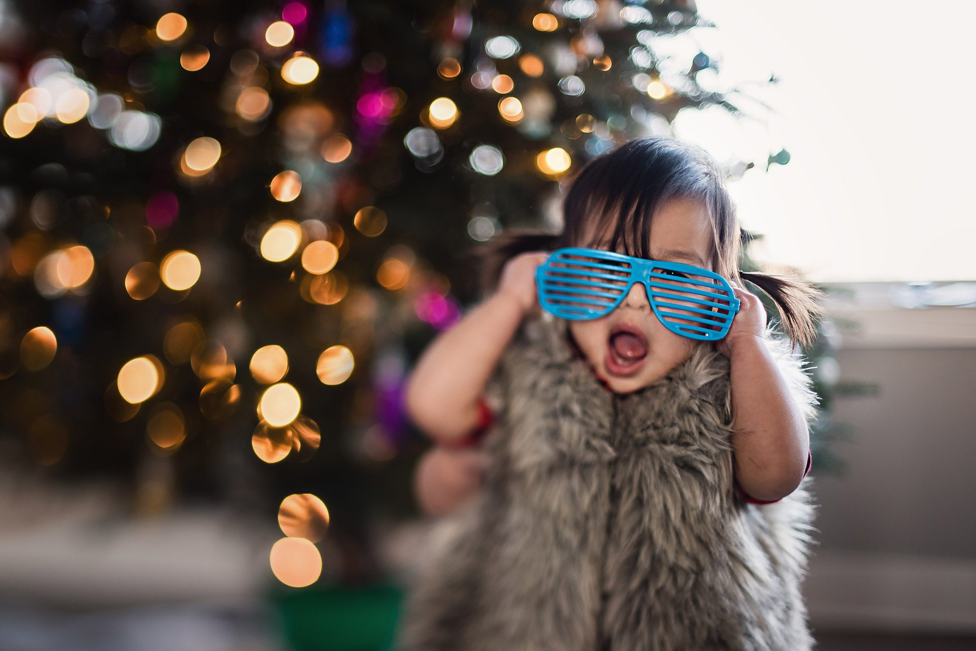 Fur Vest and Retro Shutter Glasses on Toddler Girl, Freelensed Photography by Thao Lai of donthaophotography.com