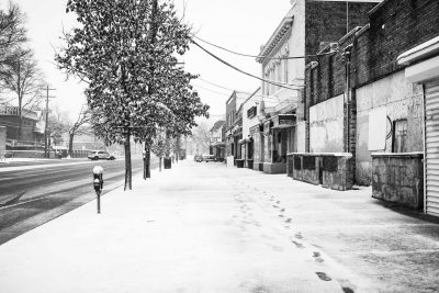 street photography image of snowy street