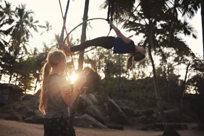 2 girls practice circus skills at a jungle circus in Goa India, by Kirsty Larmour
