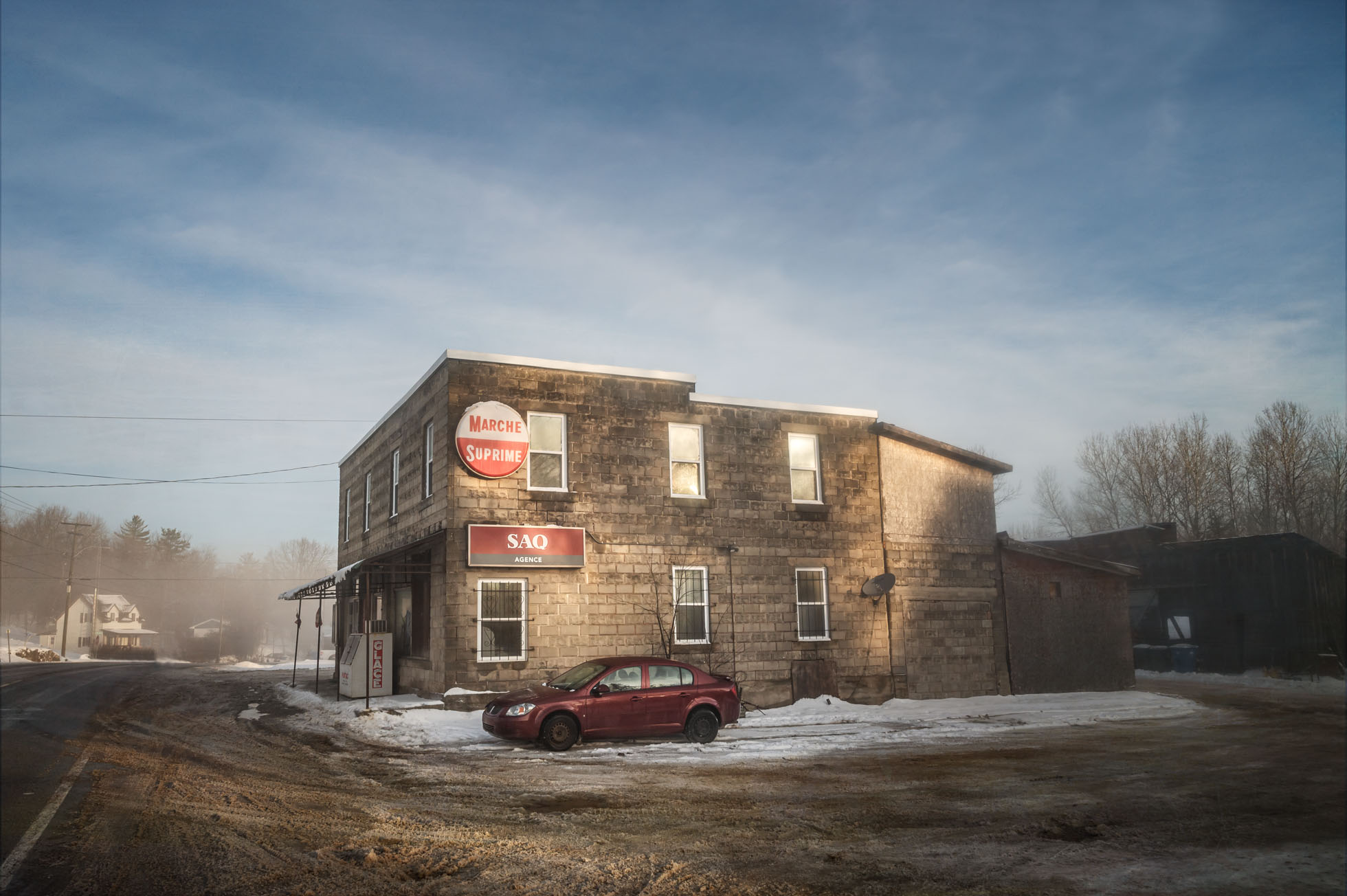 Photo of convenience store in rural Quebec on a winter morning