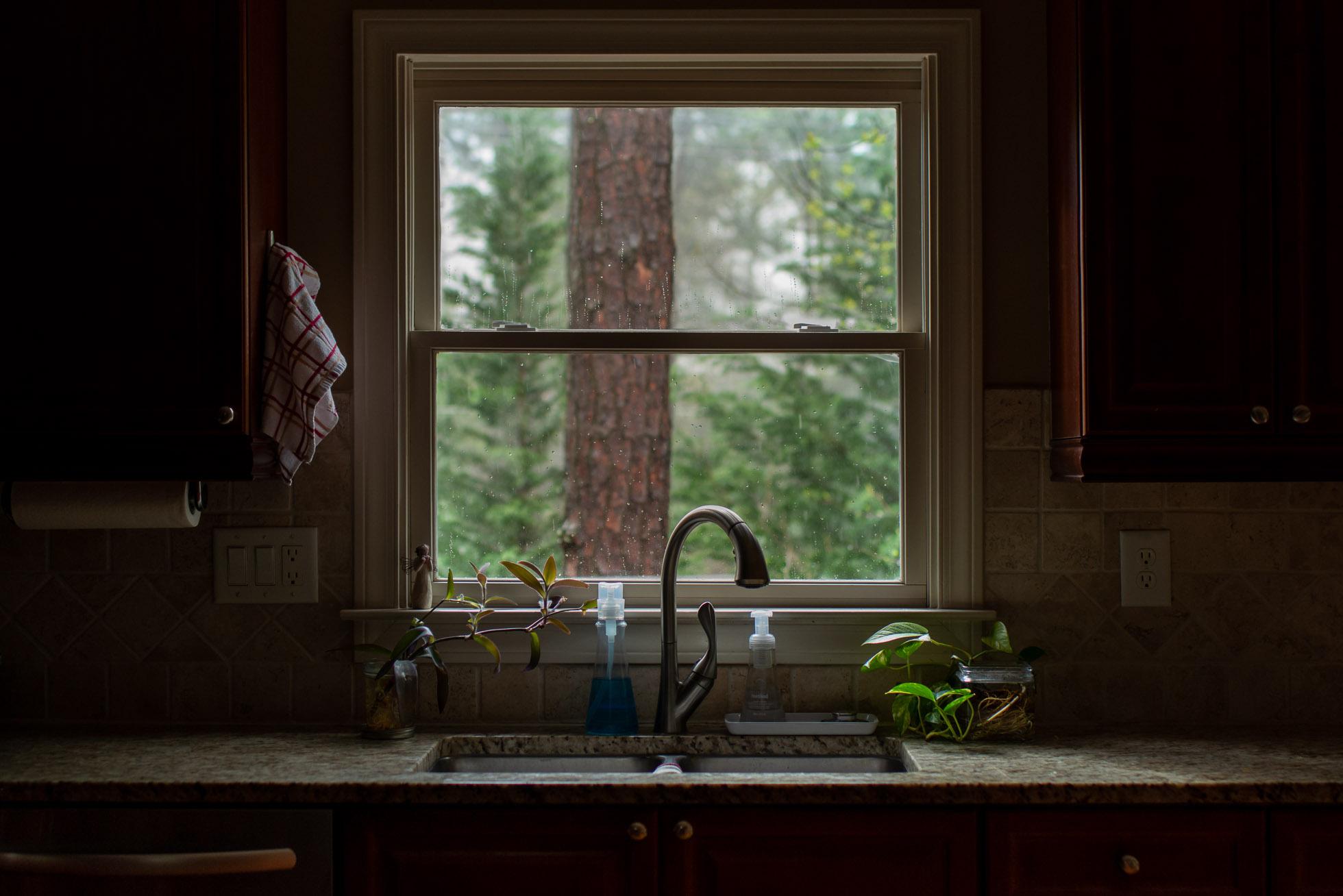 moody kitchen sink window on a rainy morning