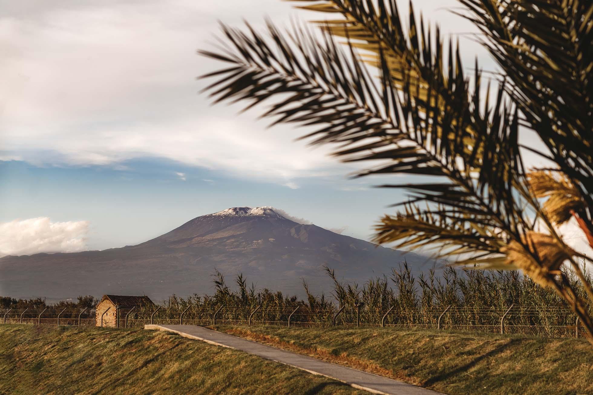 Mt Etna with snow during sicily italy coronavirus lockdown walk